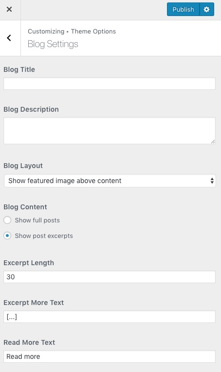 Poseidon Theme Blog Settings
