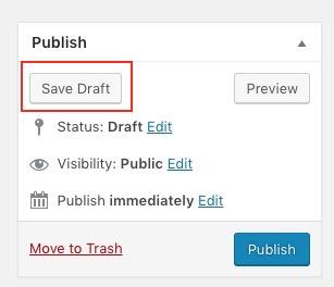WP Save Draft